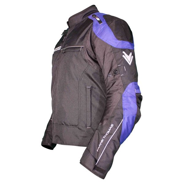 Frank Thomas FTW704 Neptune Mens Black Blue Textile Motorcycle Jacket Side