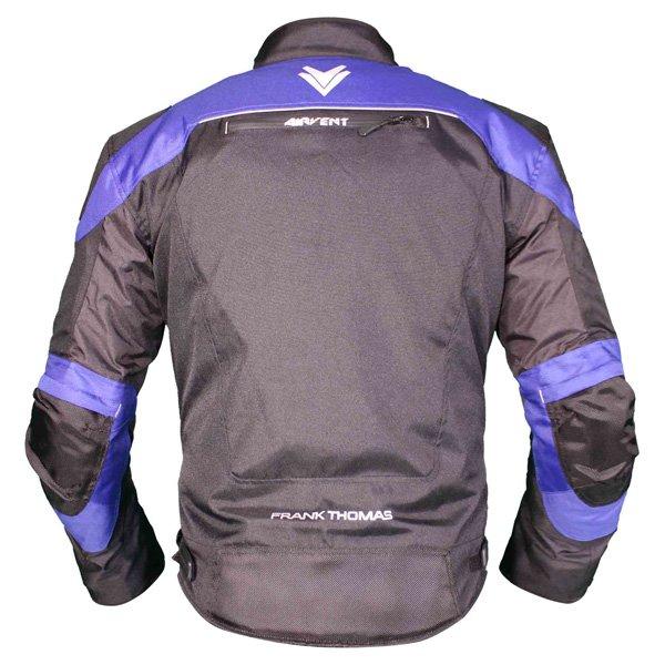 Frank Thomas FTW704 Neptune Mens Black Blue Textile Motorcycle Jacket Back