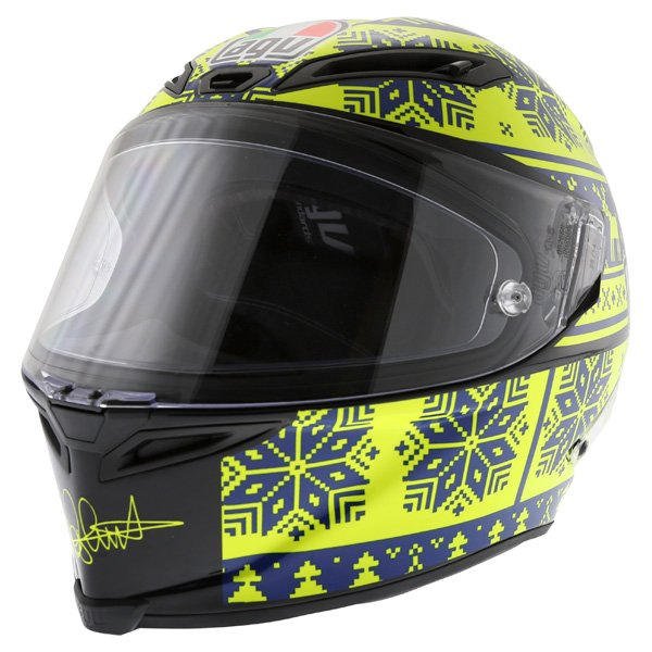 AGV Corsa Valentino Rossi Winter Test Snowflake Full Face Motorcycle Helmet Front Left