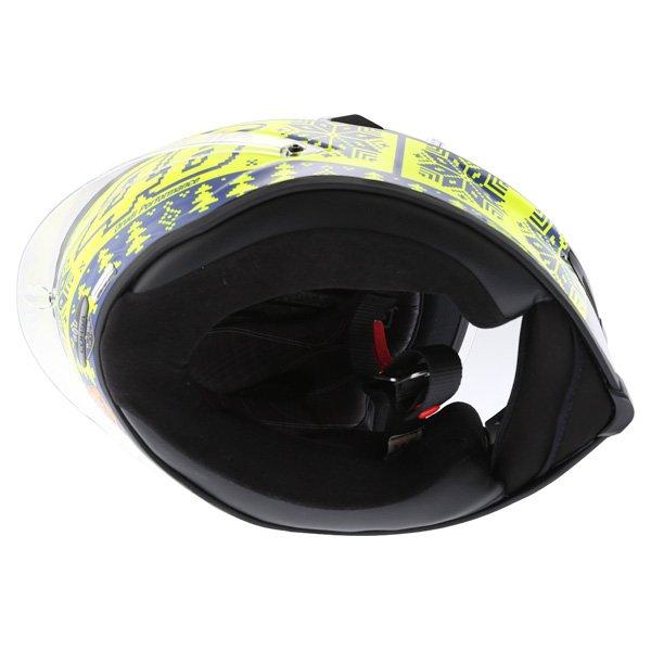 AGV Corsa Valentino Rossi Winter Test Snowflake Full Face Motorcycle Helmet Inside
