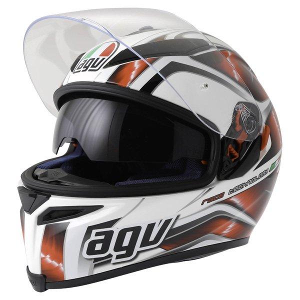 AGV K5 Hurricane White Red Black Full Face Motorcycle Helmet Open With Sun Visor