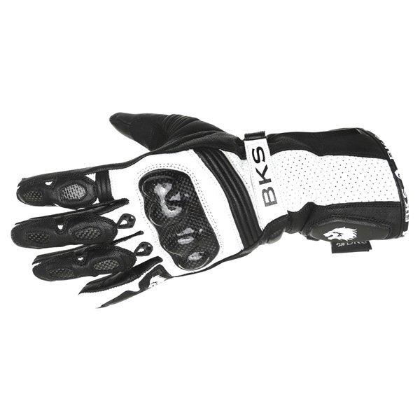 BKS Fury Black White Motorcycle Gloves Back