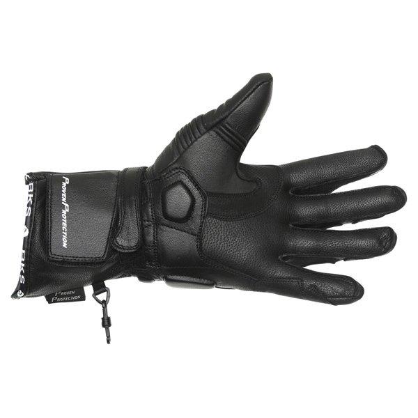 BKS Fury Black White Motorcycle Gloves Palm