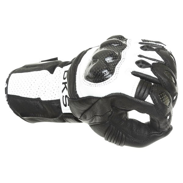 BKS Fury Black White Motorcycle Gloves Knuckle
