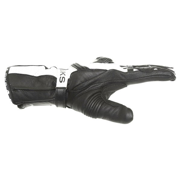 BKS Fury GBlack White Motorcycle Gloves Thumb side