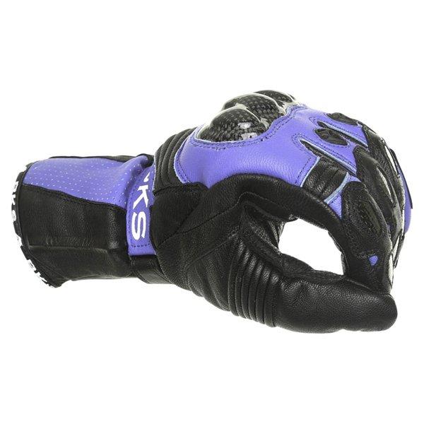 BKS Fury Black Blue Motorcycle Gloves Knuckle