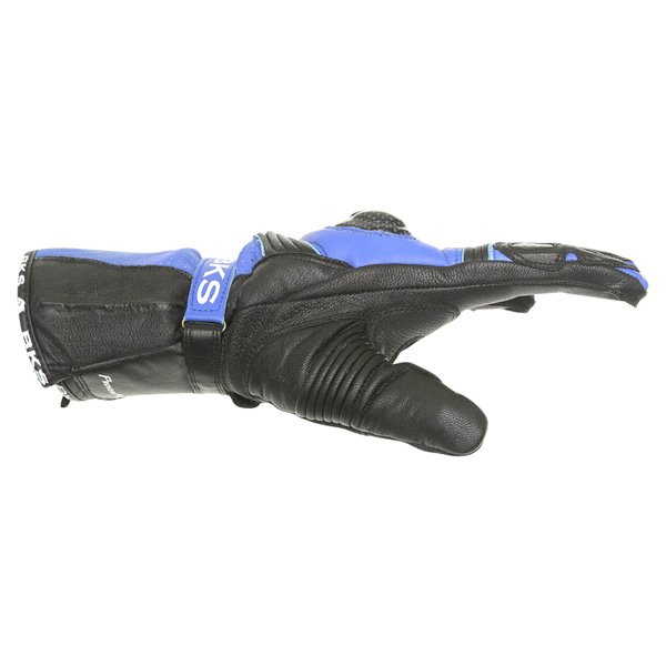 BKS Fury Black Blue Motorcycle Gloves Thumb side