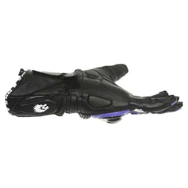 BKS Fury Black Blue Motorcycle Gloves Little finger side