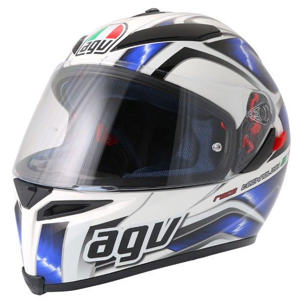 AGV K5 Hurricane White Blue Black Full Face Motorcycle Helmet Front Left