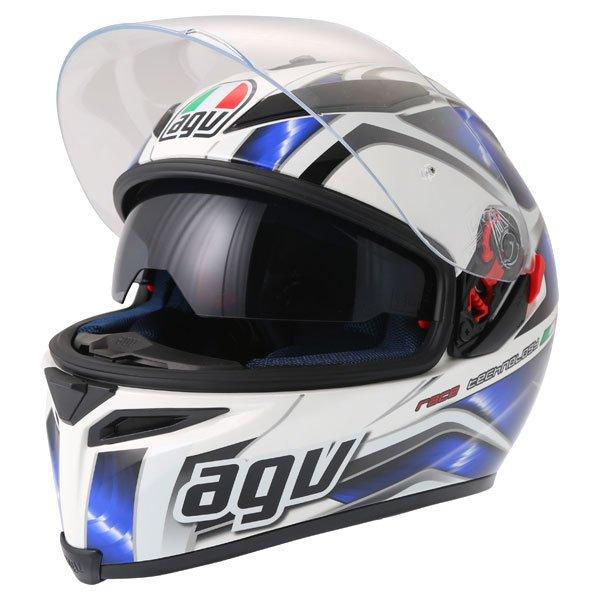 AGV K5 Hurricane White Blue Black Full Face Motorcycle Helmet Open With Sun Visor