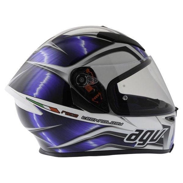 AGV K5 Hurricane White Blue Black Full Face Motorcycle Helmet Right Side
