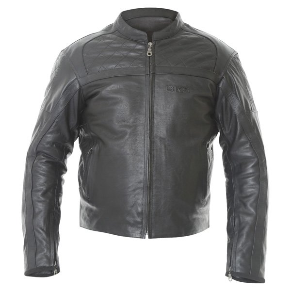 BKS Retro Chesterfield Black Leather Motorcycle Jacket Front