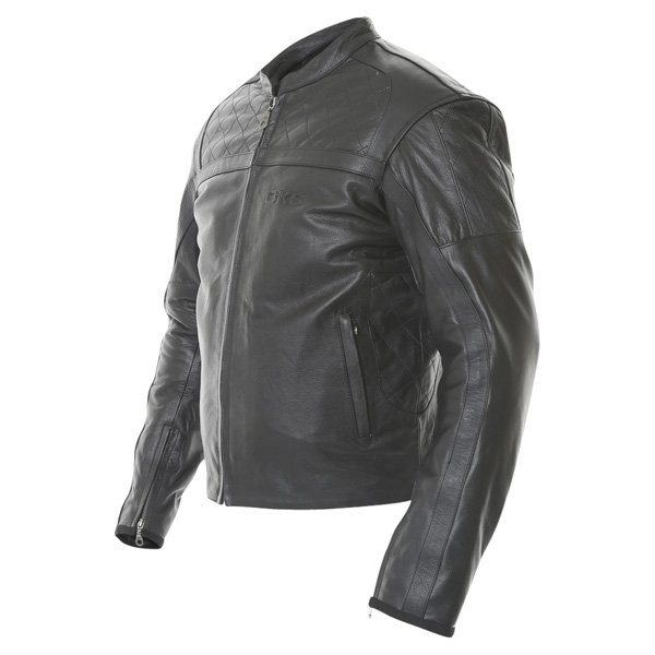 BKS Retro Chesterfield Black Leather Motorcycle Jacket Side