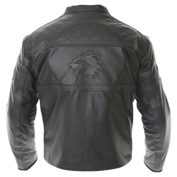 BKS Retro Chesterfield Black Leather Motorcycle Jacket Back
