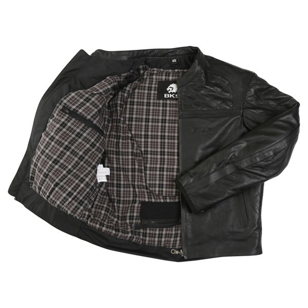 BKS Retro Chesterfield Black Leather Motorcycle Jacket Inside