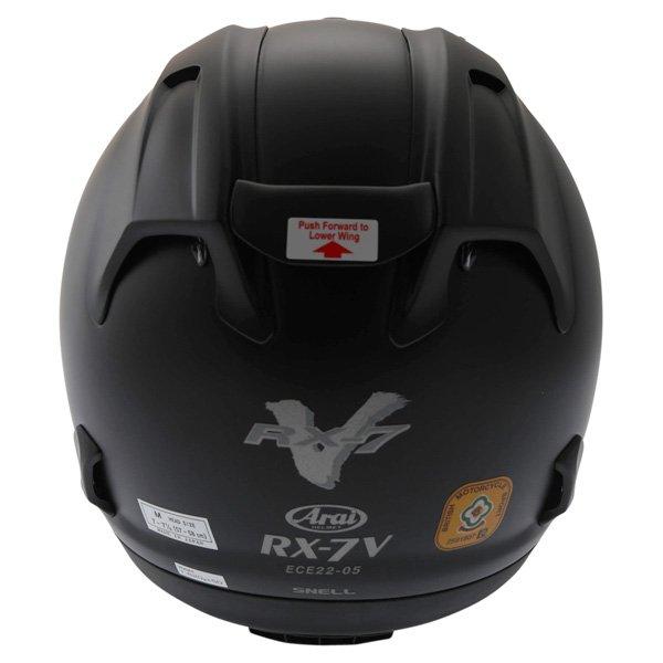 Arai RX-7V Frost Black Full Face Motorcycle Helmet Back