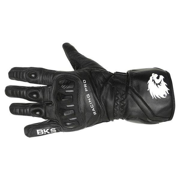BKS Racing Pro Black Motorcycle Gloves Back