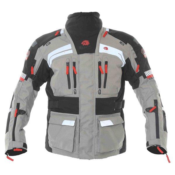 BKS Endeavour Mens Grey Black Textile Motorcycle Jacket Front