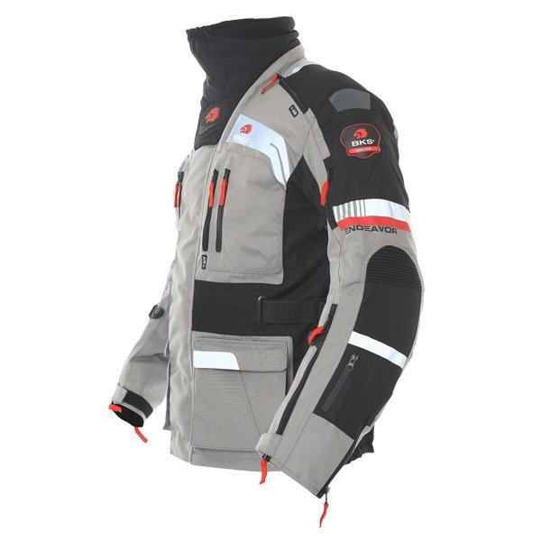 BKS Endeavour Mens Grey Black Textile Motorcycle Jacket Side
