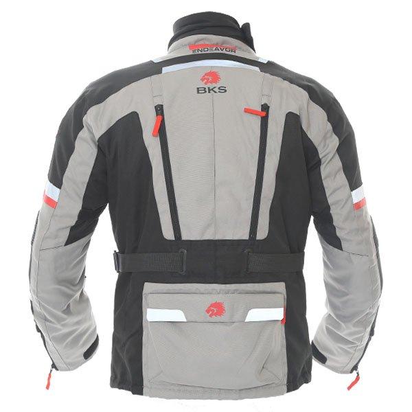 BKS Endeavour Mens Grey Black Textile Motorcycle Jacket Back