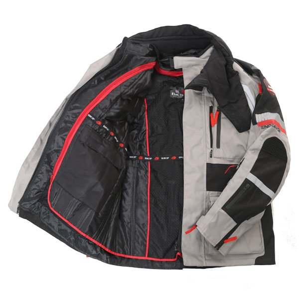BKS Endeavour Mens Grey Black Textile Motorcycle Jacket Inside