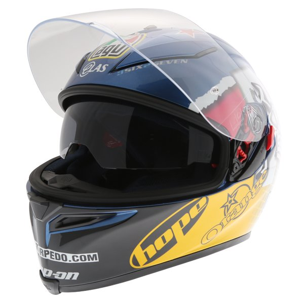 AGV K5 Guy Martin 3Some Full Face Motorcycle Helmet Open With Sun Visor
