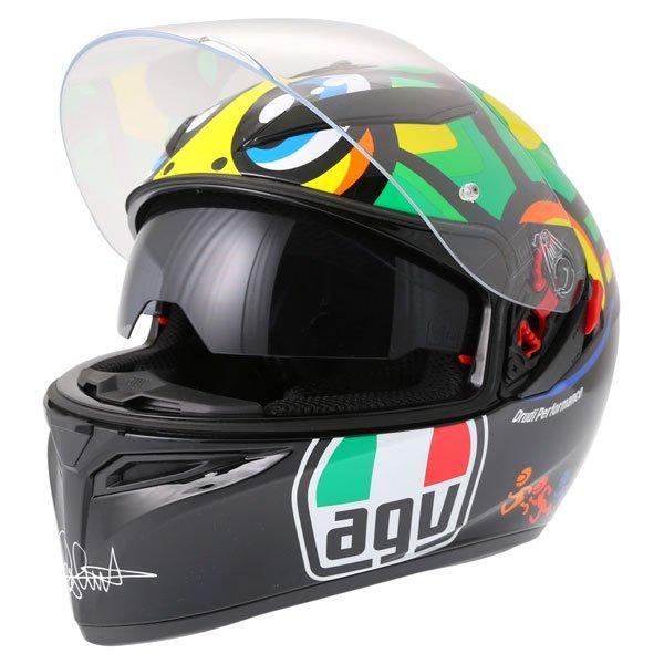 AGV K3 SV Valentino Rossi Tartaruga Full Face Motorcycle Helmet With Sun Visor