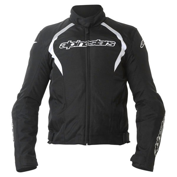 Alpinestars Fastback Mens Black White Waterproof Textile Motorcycle Jacket Front