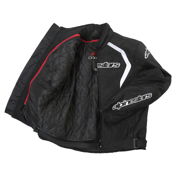 Alpinestars Fastback Mens Black White Waterproof Textile Motorcycle Jacket Inside