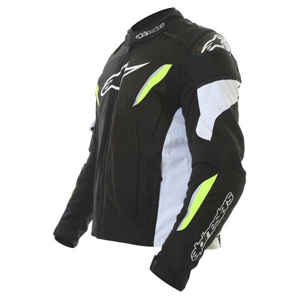 Alpinestars T-GP R Mens White Black Yellow Waterproof Textile Motorcycle Jacket Side