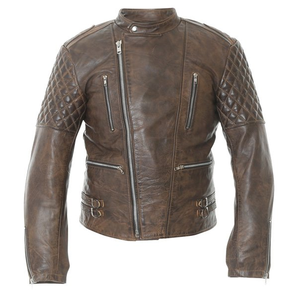 Frank Thomas B5 Antique Brown Leather Motorcycle Jacket Front