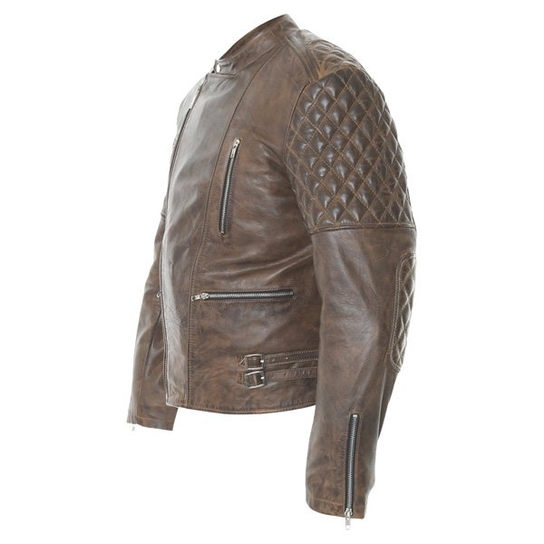 Frank Thomas B5 Antique Brown Leather Motorcycle Jacket Side