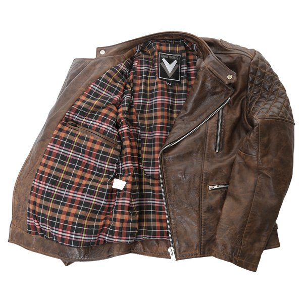Frank Thomas B5 Antique Brown Leather Motorcycle Jacket Inside