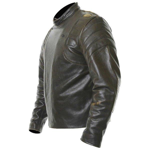 Frank Thomas Crusader Brown Leather Motorcycle Jacket Side