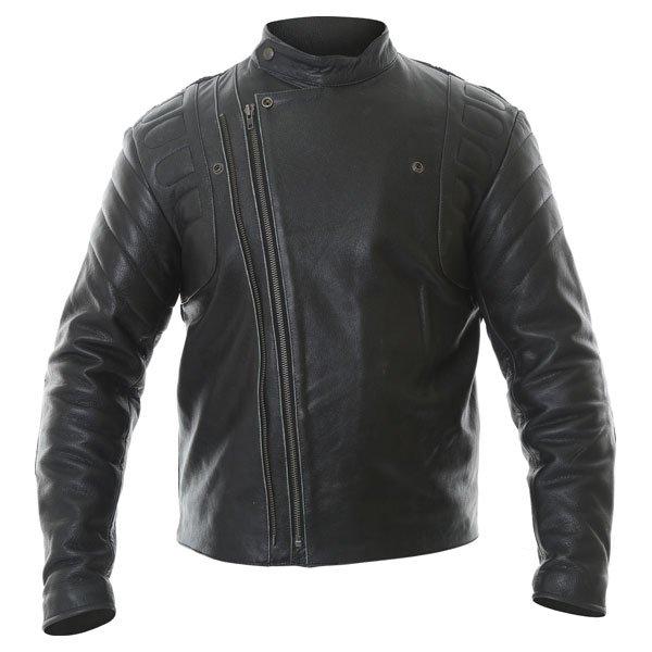 Frank Thomas Crusader Black Leather Motorcycle Jacket Front