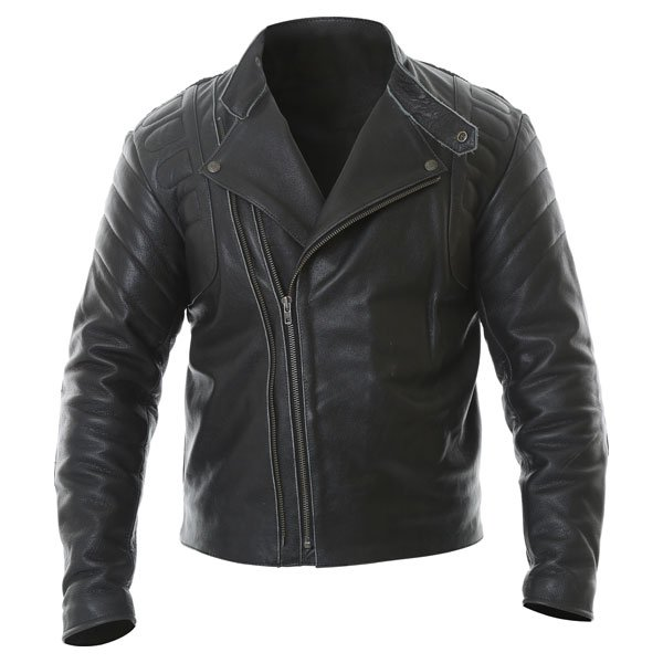 Frank Thomas Crusader Black Leather Motorcycle Jacket Retro Style