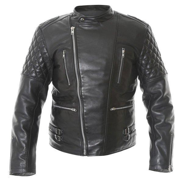 Frank Thomas B5 Black Leather Motorcycle Jacket Front