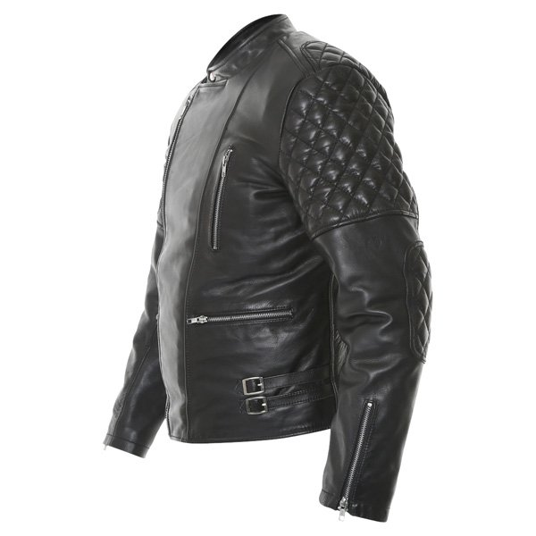 Frank Thomas B5 Black Leather Motorcycle Jacket Side