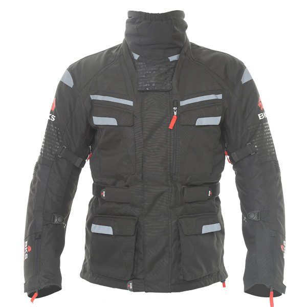 BKS Gemini T2 Mens Black Grey Textile Motorcycle Jacket Front