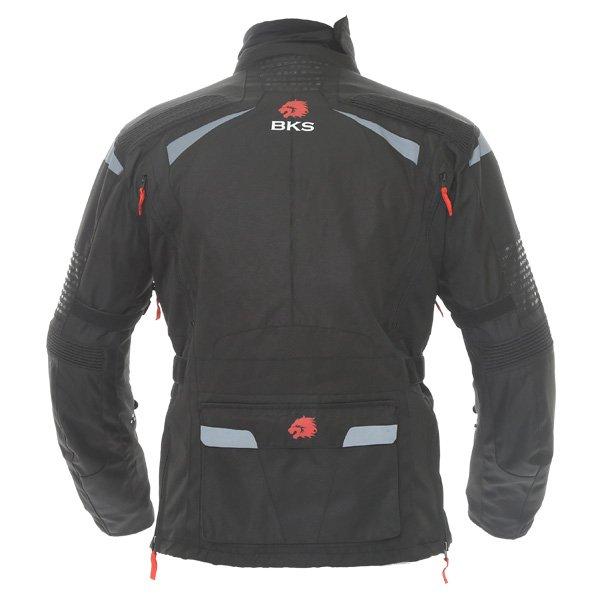 BKS Gemini T2 Mens Black Grey Textile Motorcycle Jacket Back