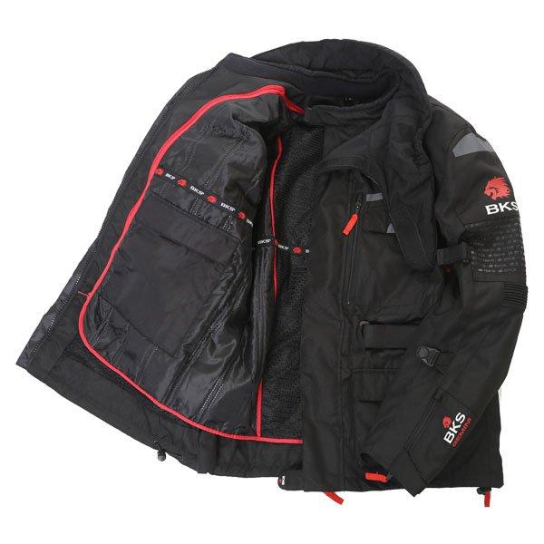 BKS Gemini T2 Mens Black Grey Textile Motorcycle Jacket Inside
