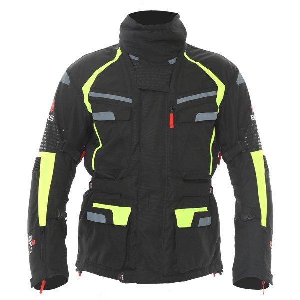 BKS Gemini T2 Mens Black Yellow Textile Motorcycle Jacket Front