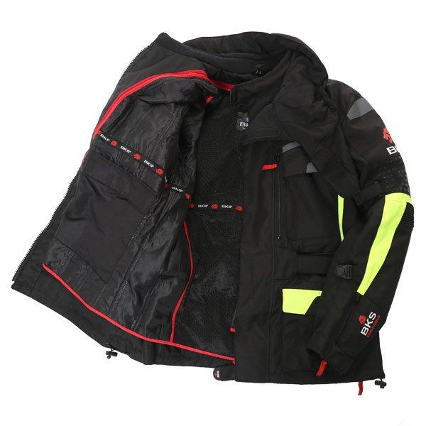 BKS Gemini T2 Mens Black Yellow Textile Motorcycle Jacket Inside