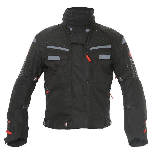 BKS Apollo S2 Mens Black Grey Textile Motorcycle Jacket Front