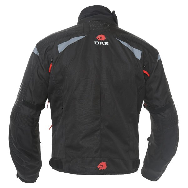 BKS Apollo S2 Mens Black Grey Textile Motorcycle Jacket Back
