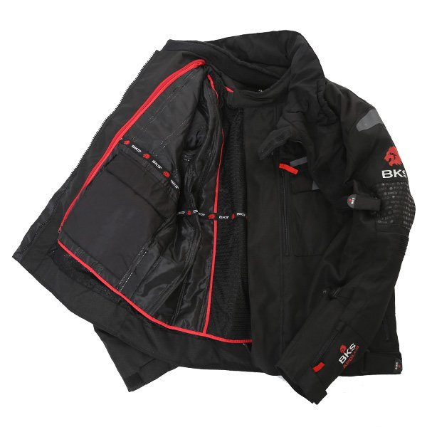 BKS Apollo S2 Mens Black Grey Textile Motorcycle Jacket Inside