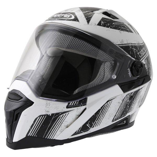 Caberg Stunt Steez White Black Full Face Motorcycle Helmet Front Left