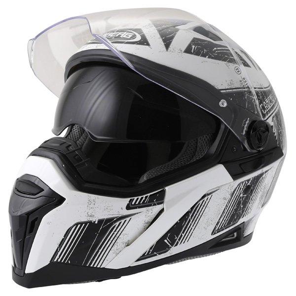 Caberg Stunt Steez White Black Full Face Motorcycle Helmet Open With Sun Visor
