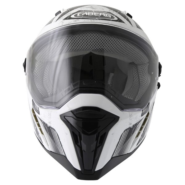 Caberg Stunt Steez White Black Full Face Motorcycle Helmet Front