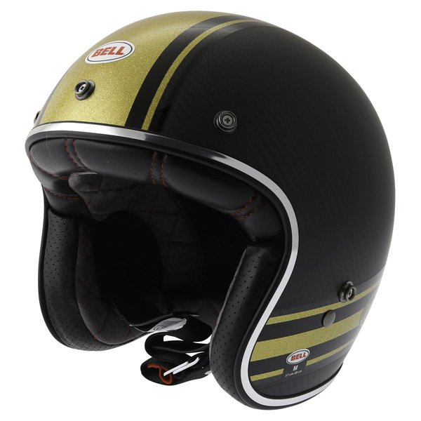 Bell Custom 500 RSD Carbon Bomb Open Face Motorcycle Helmet Front Left